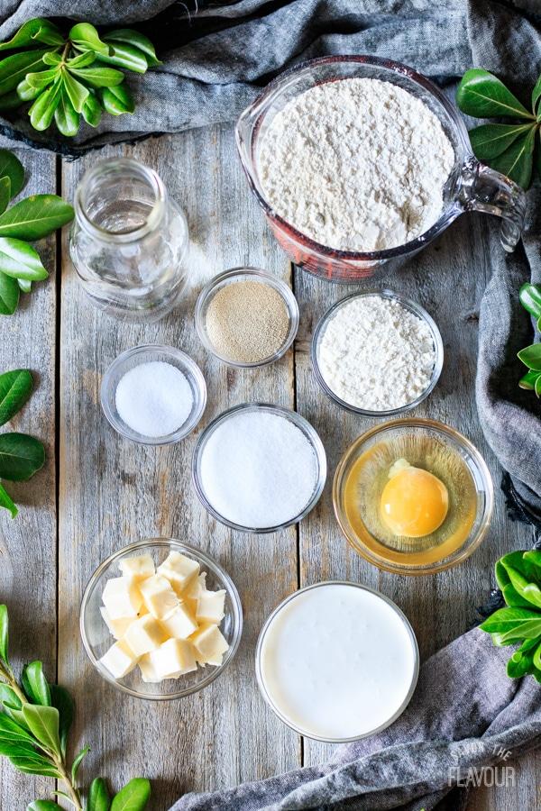 ingredients for Hokkaido milk bread rolls