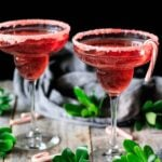 two glasses of candy cane mocktail