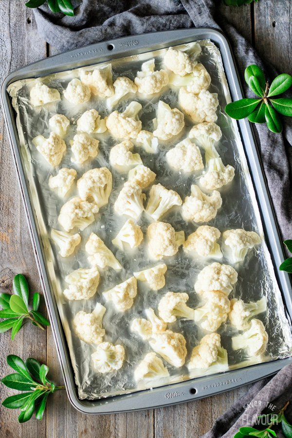 cauliflower on a cookie sheet for roasted cauliflower soup