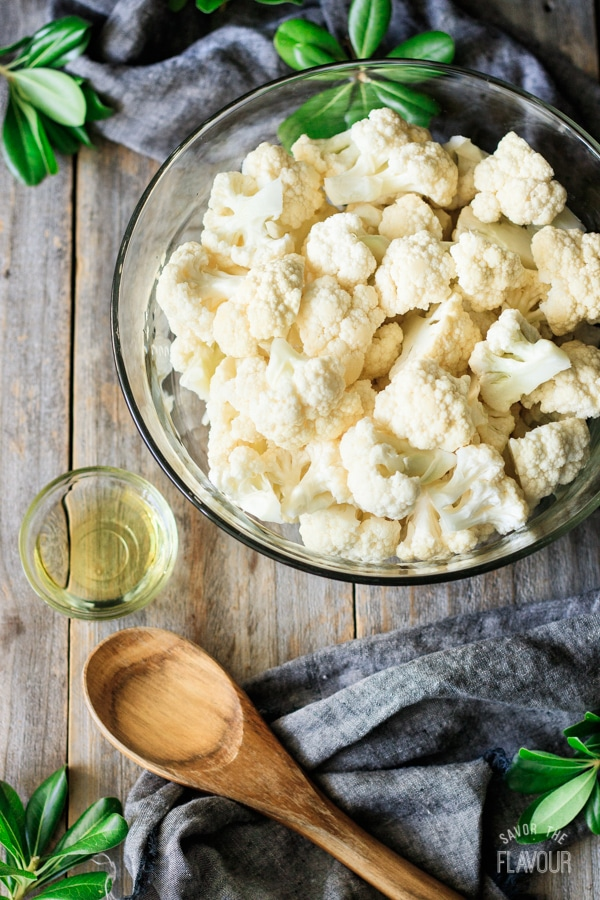 cauliflower with oil for roasted cauliflower soup