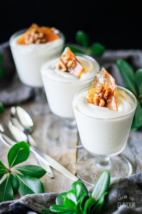 three glasses of maple mousse