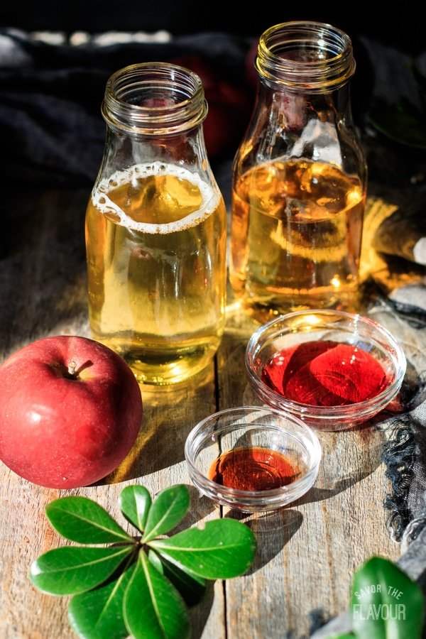 ingredients for sparkling apple cider mocktail