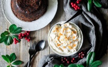 bowl of brandy butter with a plum pudding