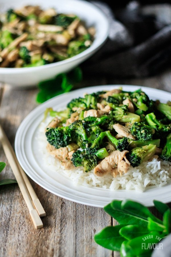 plate of chicken and broccoli stir fry