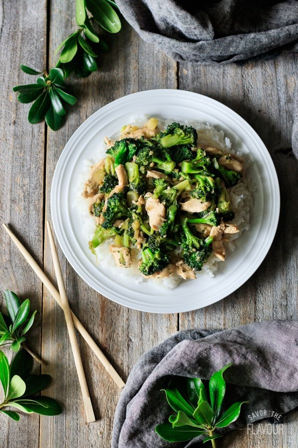 chicken and broccoli stir fry on a plate