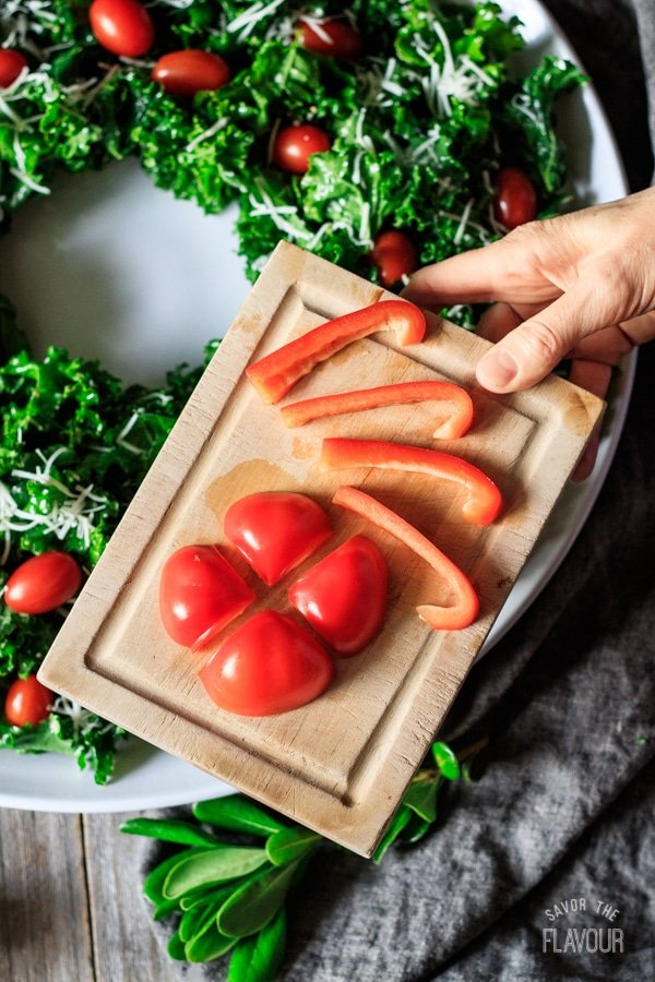 red pepper bow for Christmas wreath salad