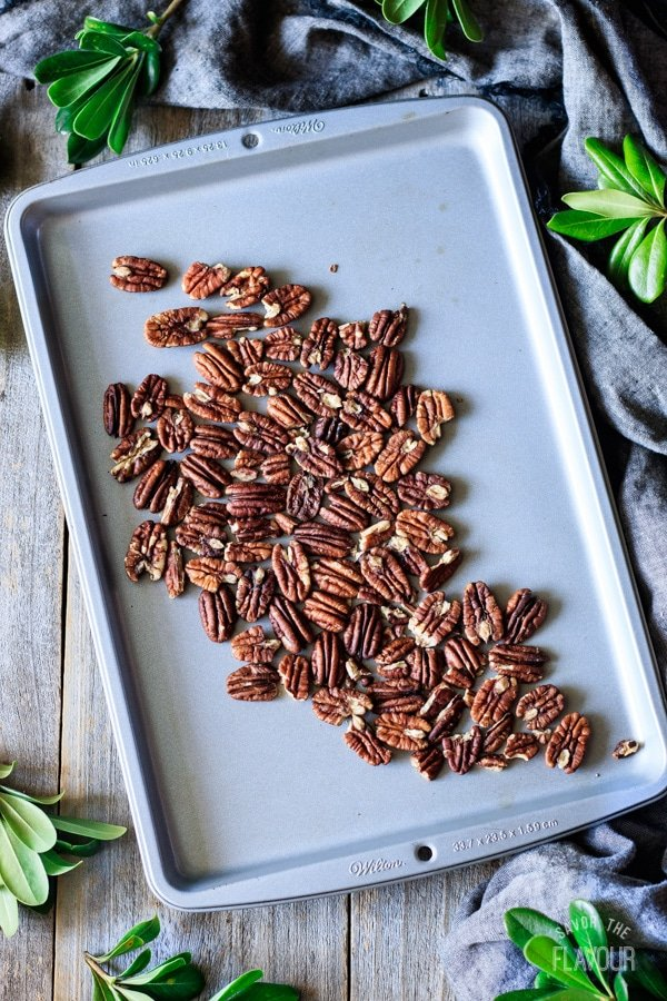 toasting the pecans for Mexican wedding cookies