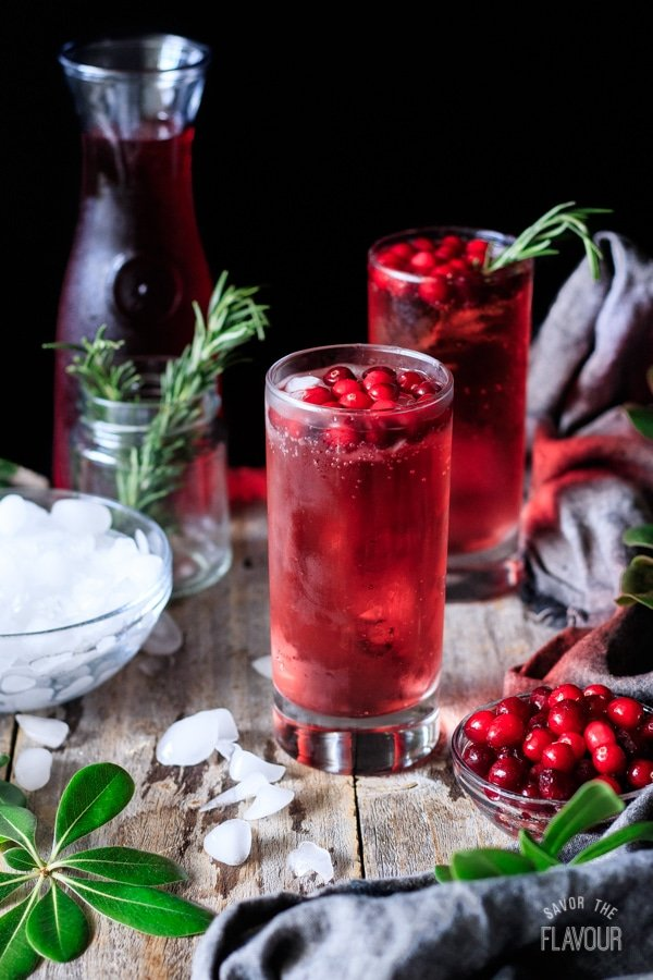 glass of sparkling cranberry mocktail