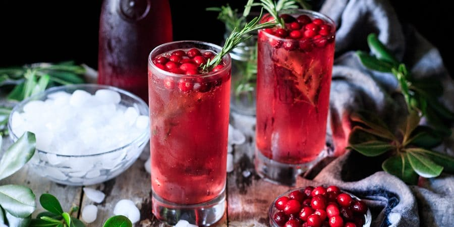 two glasses of sparkling cranberry mocktail