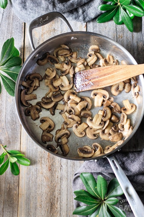cooked mushrooms for turkey stroganoff