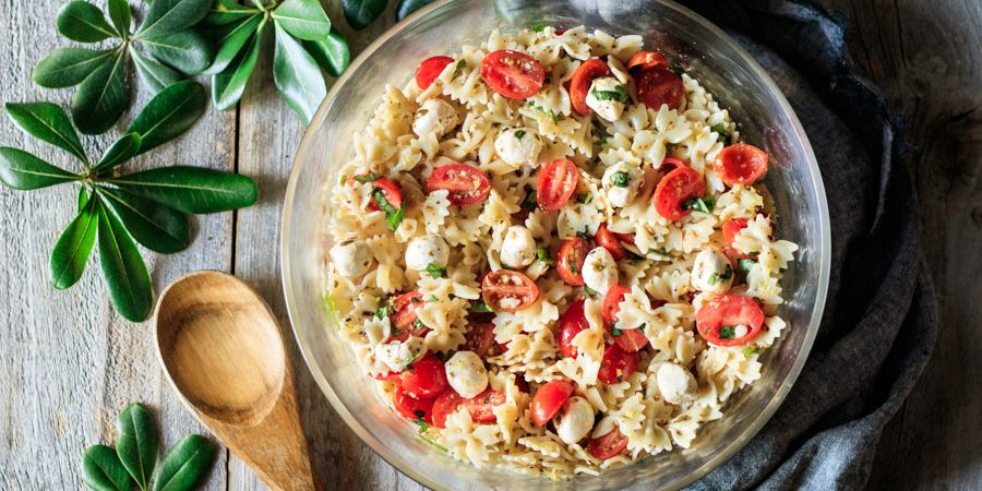 bowl of Caprese pasta salad