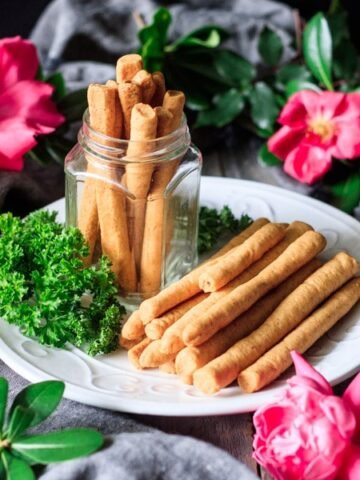 Southern cheese straws on a plate