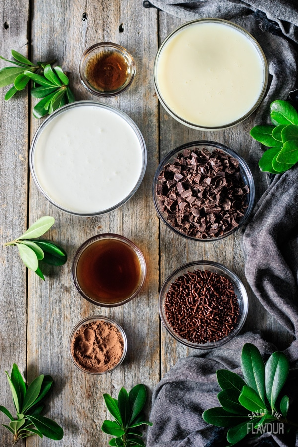 ingredients for non alcoholic chocolate mocha martini