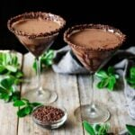 two glasses of non alcoholic chocolate mocha martini