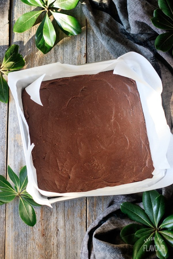 chilled chocolate peanut butter fudge in the pan