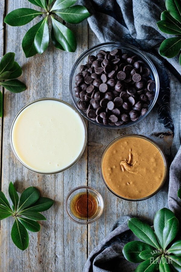 ingredients for chocolate peanut butter fudge