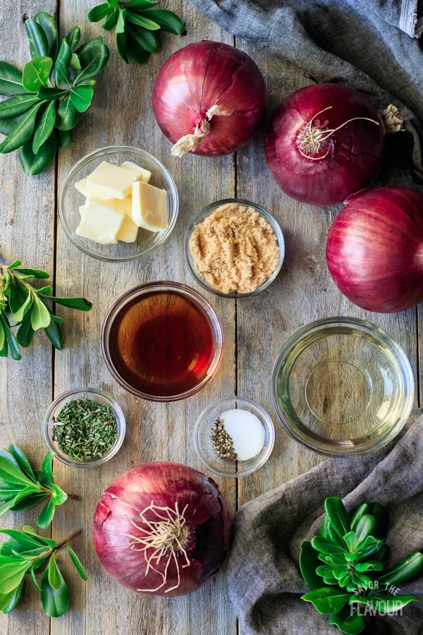 ingredients for marinated red onions