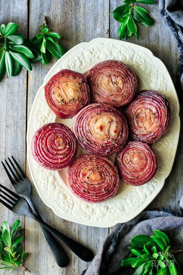 marinated red onions on a platter