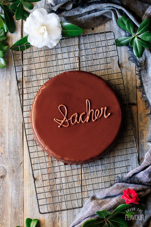 sachertorte on a wire cooling rack