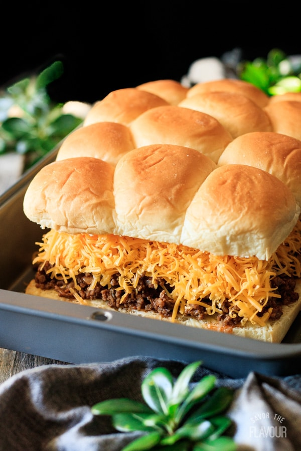 putting the tops on the sloppy joe sliders