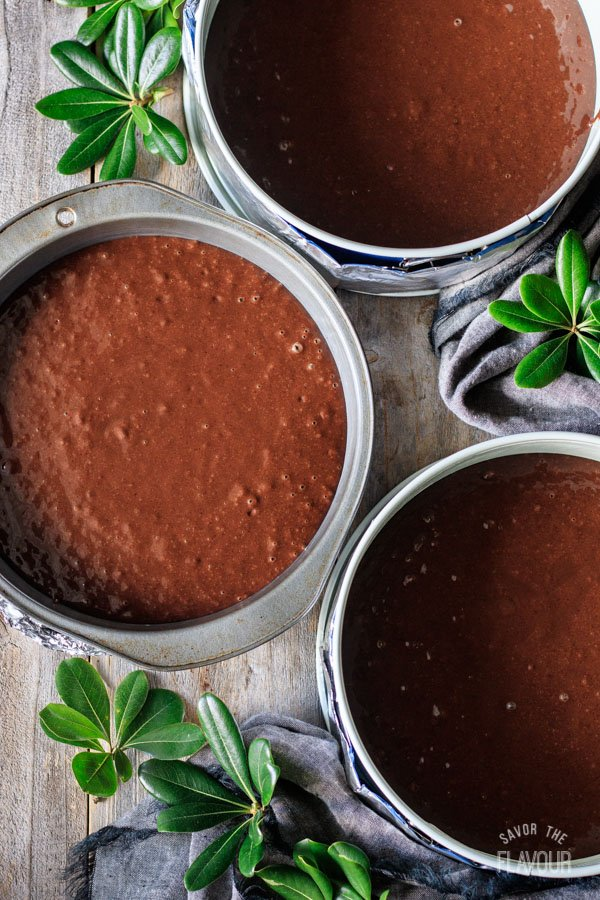 sour cream chocolate cake batter in the pans