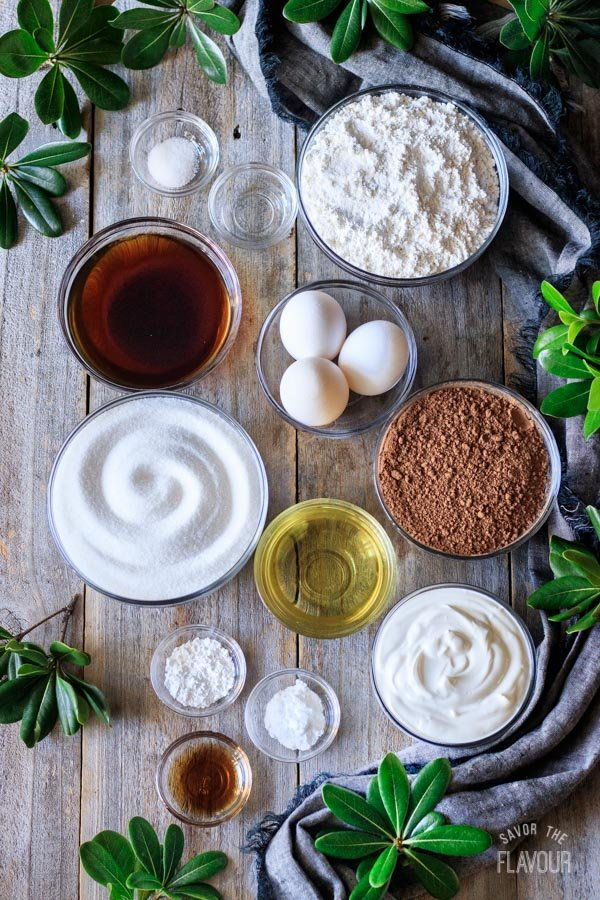 ingredients for sour cream chocolate cake