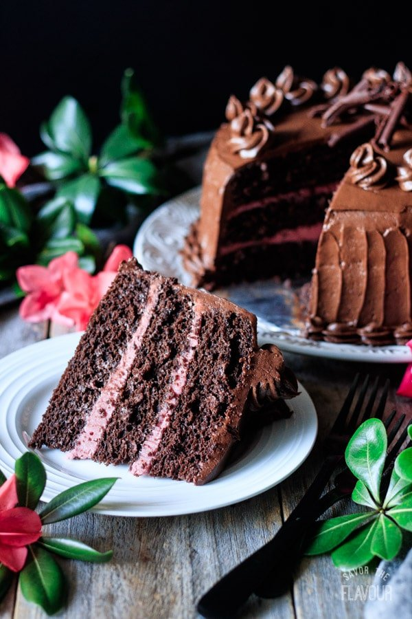 slice of sour cream chocolate cake on a plate