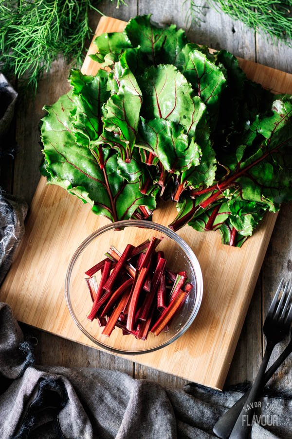 beet greens and stems
