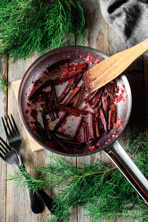 sautéing beet stems for beet greens