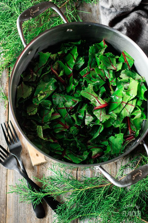 beet greens in a pot