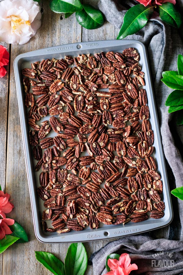 toasting the pecans for chocolate turtles
