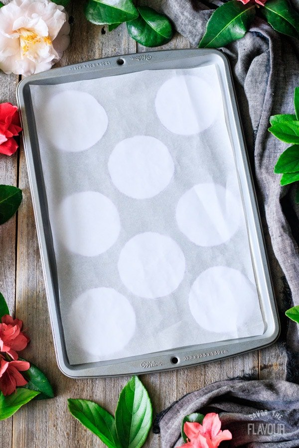 parchment lined cookie sheet for chocolate turtles
