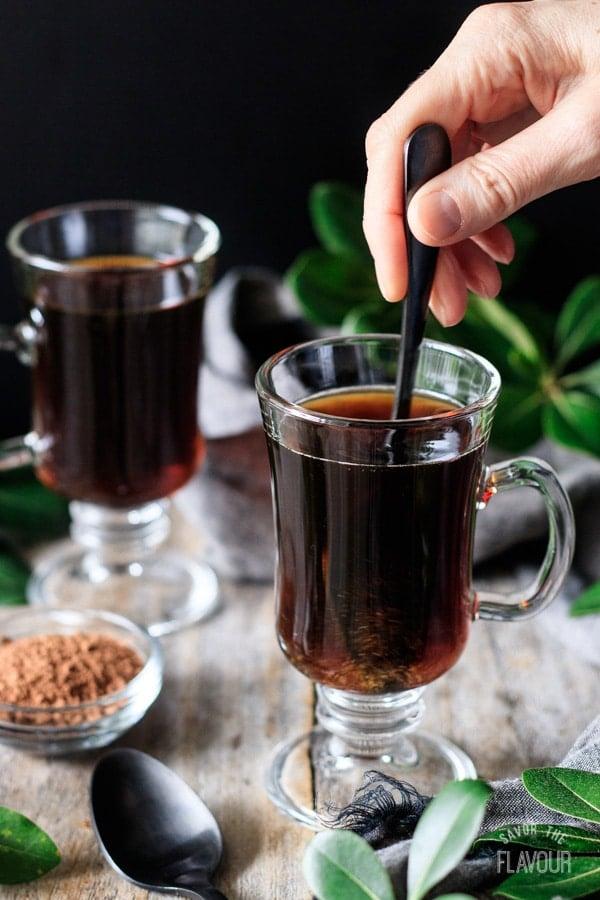 stirring non alcoholic Irish coffee