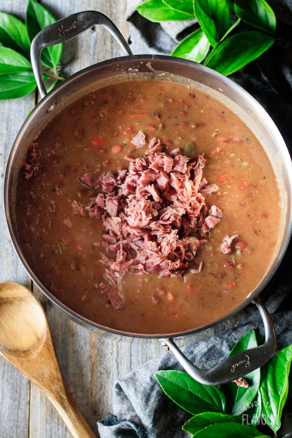 adding ham to red beans and rice