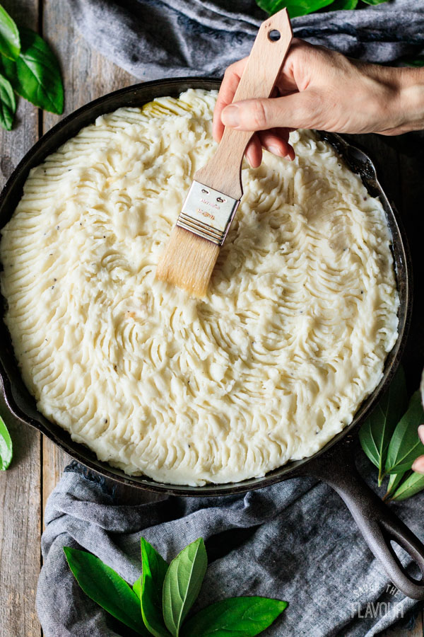 brushing shepherd's pie with egg white
