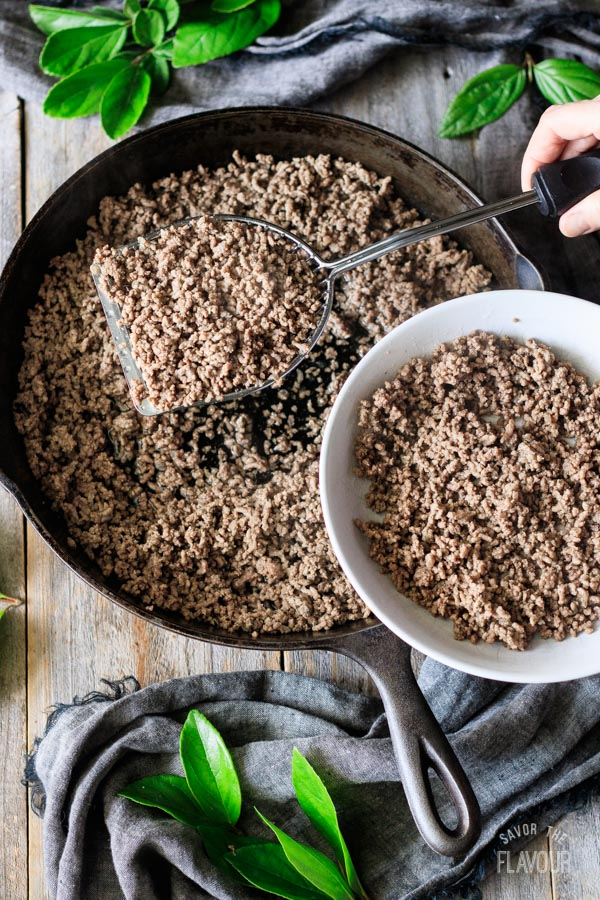 draining ground beef for shepherd's pie