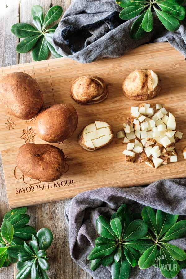 cutting potatoes for breakfast hash