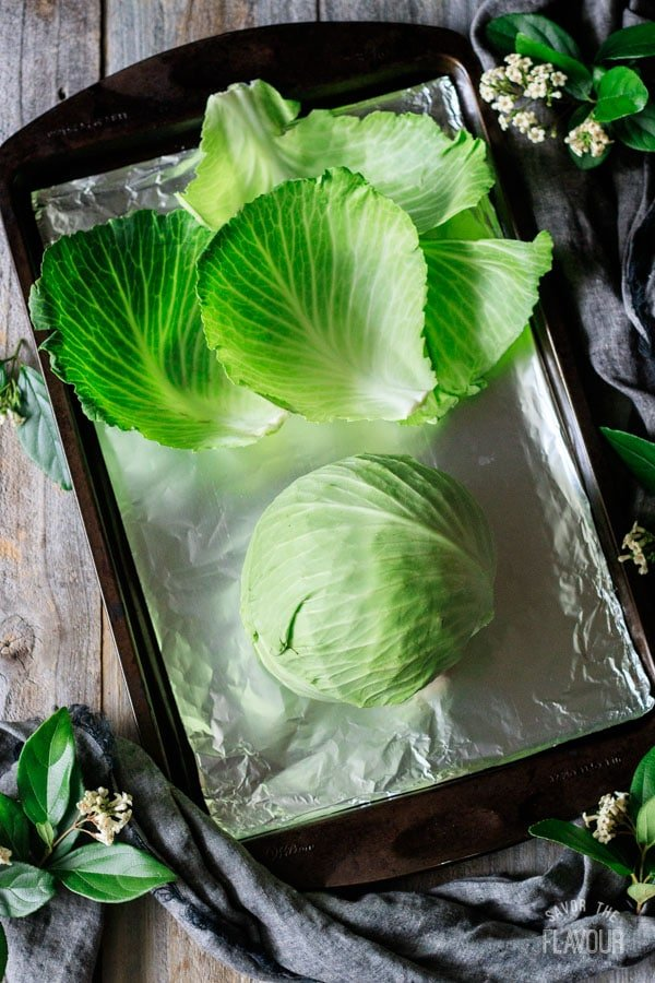 cabbage for cabbage wedges on a tray