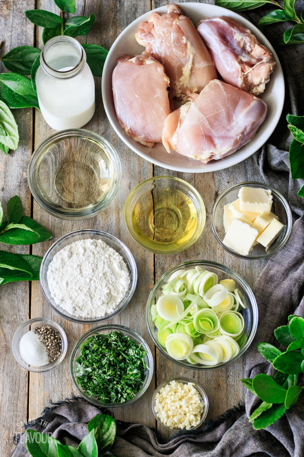 ingredients for chicken and leek pie