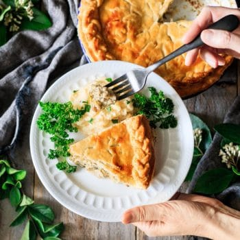 holding a plate of chicken and leek pie with a fork