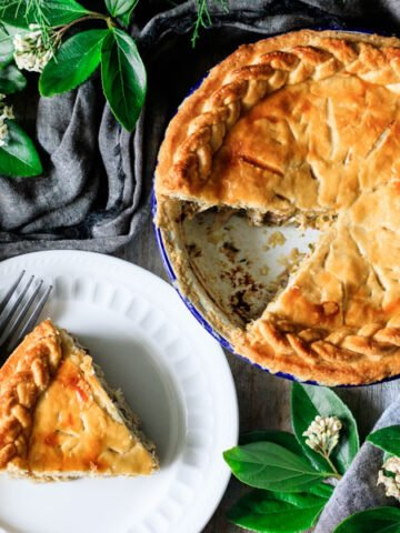 slice of chicken and leek pie on a plate