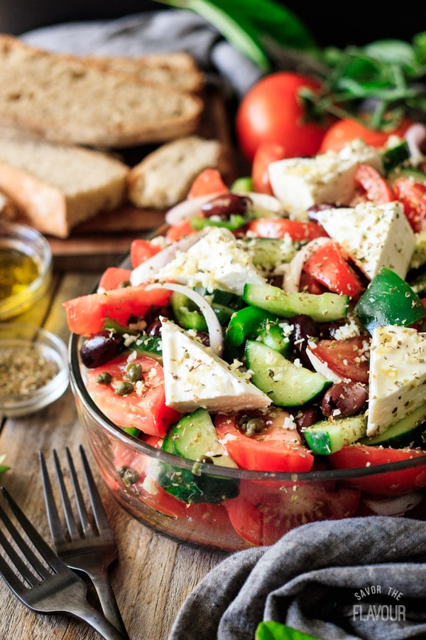 Greek salad in a shallow casserole dish