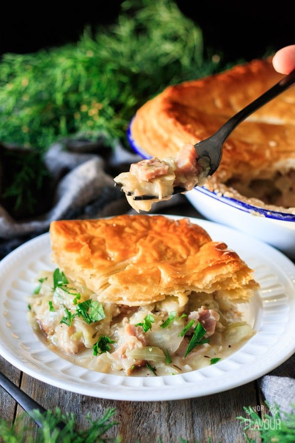 holding a forkful of ham and cabbage pie