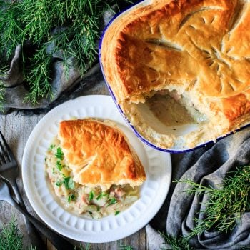 piece of ham and cabbage pie with forks