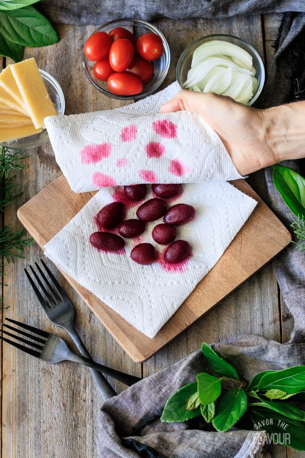 patting the beets dry with paper towel for Irish pub salad