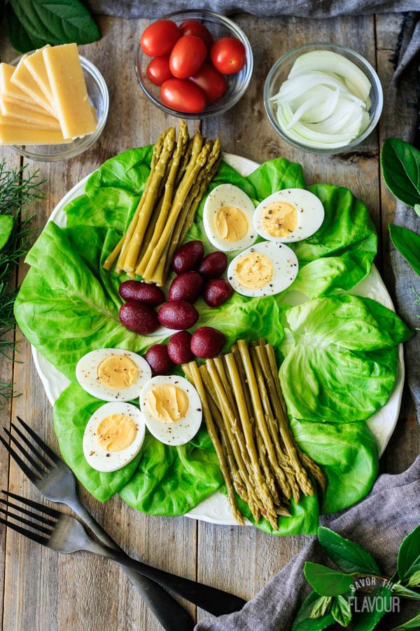 arranging asparagus, eggs, and beets for Irish pub salad