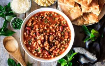 bowl of pasta e fagioli with rosemary focaccia
