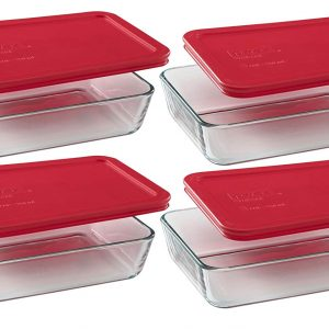 rectangular glass storage containers with red lids