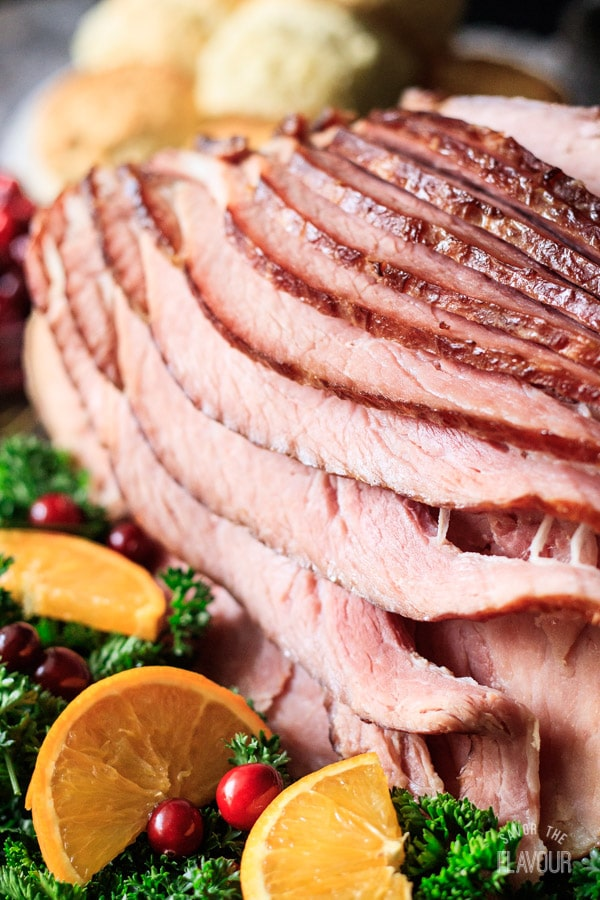 closeup of spiral ham on a platter