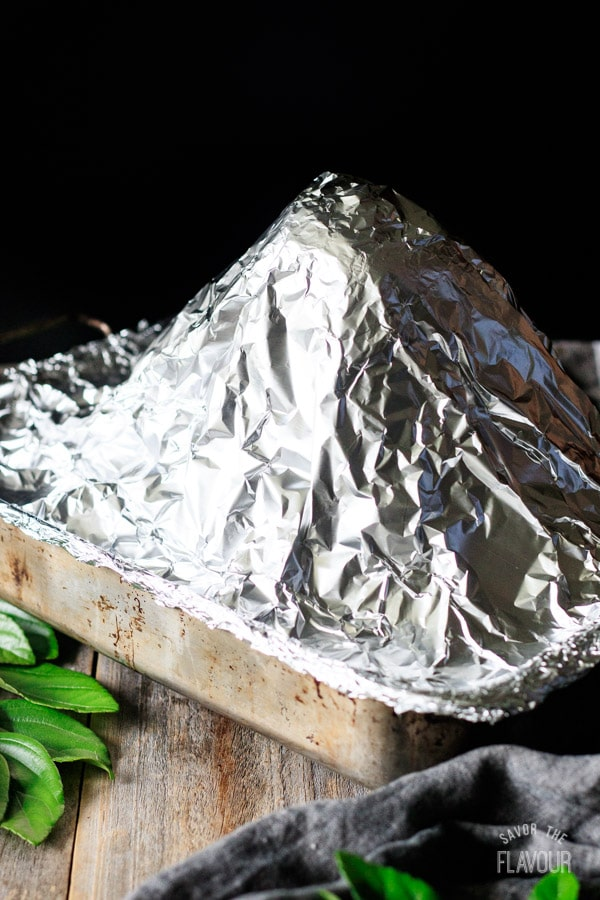 covering the spiral ham with foil